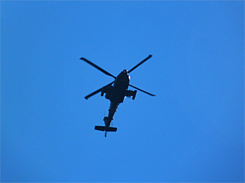 Apache, approaching the Museum's airspace.